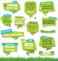 Eco Vintage Etiketter Bio mall set Ekologi Retro design