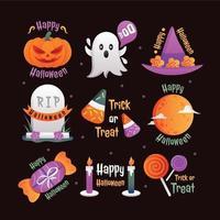 Happy Halloween Icon Vorlagensatz vektor