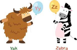 Abbildung isoliert Alphabet Buchstaben y-yak, z-zebra vektor