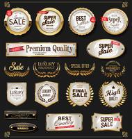 Retro vintage glänsande guldetiketter samling