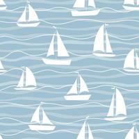 Stofftextildruckvorlage. Segelboote auf den Wellen. vektor