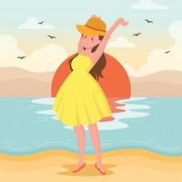 junge Dame, die sich in Strandnähe dehnt vektor