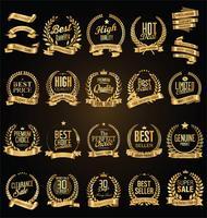 Golden laurelkrans med gyllene band vektor illustration samling