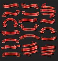 Vintage bannerband rött och guld samling vektor
