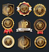 VIP gyllene etikettsamling vektor
