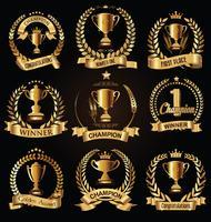 Sporttroféer och utmärkelser retro svart kollektion vektor
