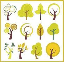 Swirly trees vektor pack
