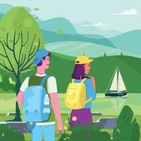 Backpacker-Paar genießt Naturblick aus der Ferne vektor