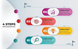4 Schritte Infografik Hintergrundvorlage vektor