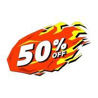 heißer Rabatt 50 Prozent Rabatt. Förderung Feuer Verkauf Label. vektor