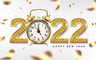 Weihnachtszahlen 2022 mit goldenem Wecker vektor