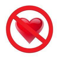 Förbud kärlek hjärta. Symbol för förbjudet och sluta kärlek. Vektor illustration - vektor