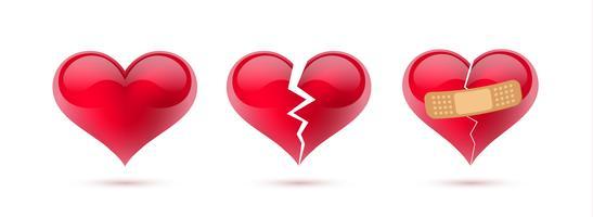 Vektorsatz der gebrochenen Herzen realistischen Ikonen und Symbolen. In weißem hintergrund isoliert. Vektor-Illustration