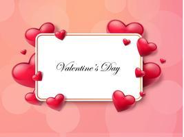 Valentinstaghintergrund mit Textbox und schönen Herzen. Vektor-Illustration