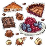 Schokoladenkuchen mit Nüssen und Beeren Dessert Aquarellillustration vektor