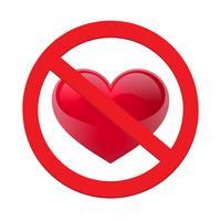 Ban Liebe Herz. Symbol der verbotenen Liebe Vektor-Illustration - Vektor