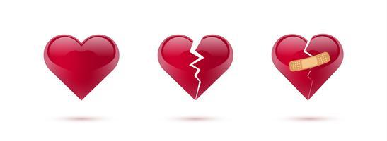 Brutna hjärtan vektor uppsättning av realistiska ikoner och symboler. Isolerad i vit bakgrund. Vektor illustration