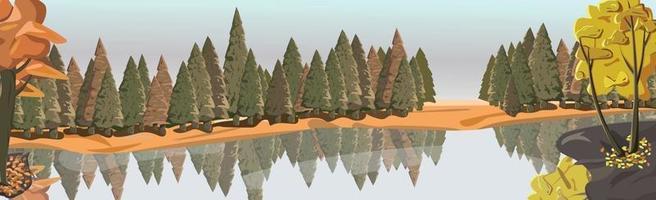 realistischer Mischwald spiegelt sich im Fluss - Vektor
