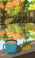 Tasse Kaffee auf dem Hintergrund des Herbstwaldes - Vektor