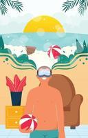 virtuelle tourismusreisen mit vr-konzept vektor