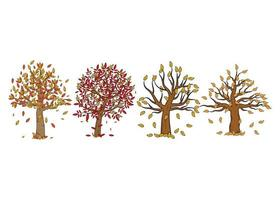 Herbst Herbst Baum Hand gezeichnete Illustration Design-Vorlage isoliert vektor