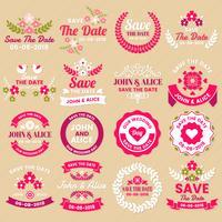 Bröllop Retro Vintage Vector Etikett