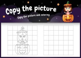 kopiere das bild kinderspiel und die ausmalseite mit einem süßen mädchen vektor