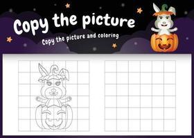 kopiere das bild kinderspiel und die ausmalseite mit einem süßen kaninchen vektor