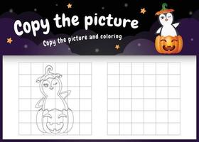 Kopieren Sie das Bild Kinderspiel und die Malvorlage mit einem süßen Pinguin vektor