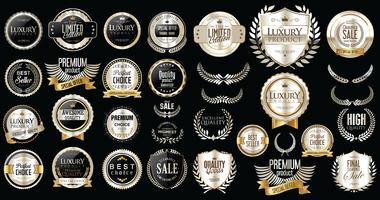 Lyx premium silver märken och etiketter vektor