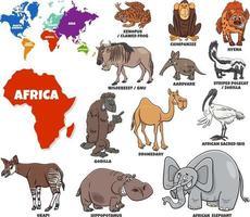 pädagogische Illustration von Cartoon afrikanischen Tieren gesetzt vektor