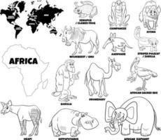 pädagogische Illustration von afrikanischen Tieren Malbuchseite vektor