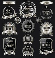 Luxus Premium Silber Abzeichen und Etiketten vektor