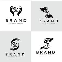 Reihe von Illustrationen für das Logo der Hundehand. Haustierpflege-Logo-Symbole vektor