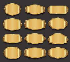 Goldene Sammlung von Metallplatten in Premium-Qualität vektor