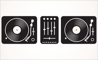 Einfache Schwarzweiss-DJ, die gesetzte Vektorillustration der Drehscheibe mischt