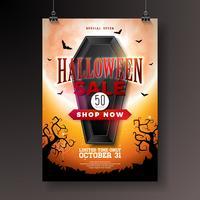 Halloween Försäljning illustration med svart kista, fladdermöss och kyrkogård på orange mystisk måne bakgrund. vektor