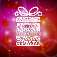 Vector Illustration der frohen Weihnachten mit typografischem Design auf glänzendem rotem Hintergrund