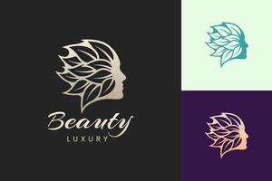 Gesichts-Schönheitspflege-Logo-Vorlage im luxuriösen und modernen Stil vektor