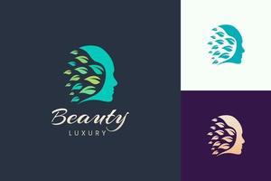 Beauty-Logo mit Gesichts- und Blattform für Kosmetik- und Hautpflegemarke vektor