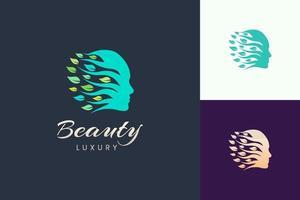 Kosmetik- und Schönheits-Hautpflege-Logo mit Gesichts- und Blattform vektor