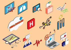 Illustration von grafischen Krankenhausikonen der Informationen stellte Konzept ein vektor