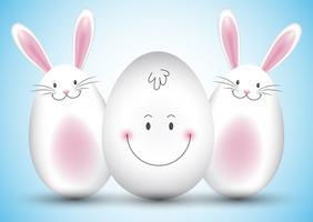 Påskägg och kaninbakgrund