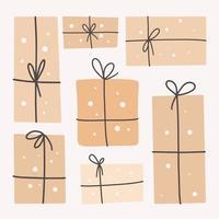 Geschenkboxen mit Bändern. gegenwärtig vektor