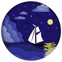 Segelboot im Meer. Seelandschaft bei Nacht im Scherenschnitt-Stil. vektor
