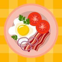 Rührei mit Speck, Tomaten, Petersilie und Zwiebeln. vektor