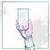 Illustration av Hand som håller en telefon och byter telefon
