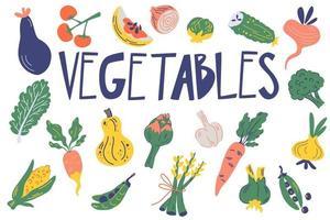 Gemüse eingestellt. gesundes Essen. handgezeichnetes frisches leckeres Gemüse vektor
