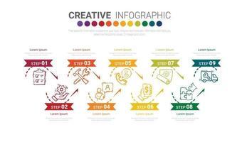 abstrakte Infografik-Nummern-Optionsvorlage mit 9 Schritten. vektor