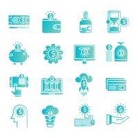 Pengar gradient ikoner ställa in vektor